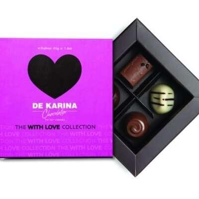 פרלין 4 לב שוקולד דה קרינה