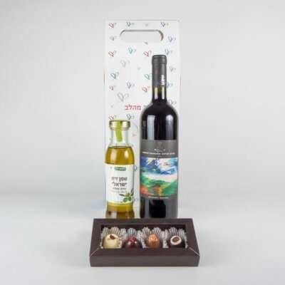 יין שמן זית ופרלינים- מארזי שמן זית, מארזי יין ושוקולד